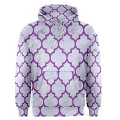 Tile1 White Marble & Purple Denim (r) Men s Pullover Hoodie