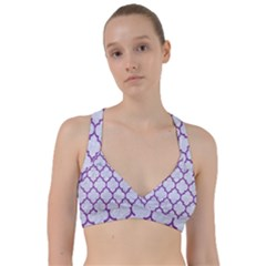 Tile1 White Marble & Purple Denim (r) Sweetheart Sports Bra