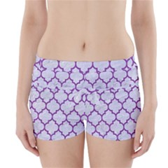 Tile1 White Marble & Purple Denim (r) Boyleg Bikini Wrap Bottoms