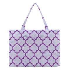 Tile1 White Marble & Purple Denim (r) Medium Tote Bag