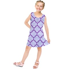 Tile1 White Marble & Purple Denim (r) Kids  Tunic Dress
