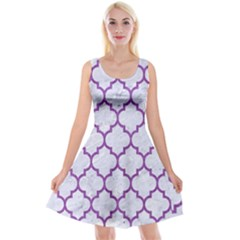Tile1 White Marble & Purple Denim (r) Reversible Velvet Sleeveless Dress
