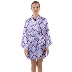 Tile1 White Marble & Purple Denim (r) Long Sleeve Kimono Robe