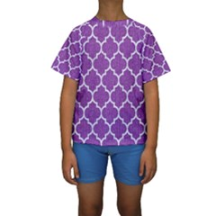 Tile1 White Marble & Purple Denim Kids  Short Sleeve Swimwear