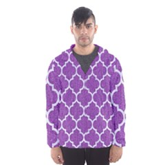 Tile1 White Marble & Purple Denim Hooded Wind Breaker (men)