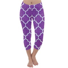 Tile1 White Marble & Purple Denim Capri Winter Leggings