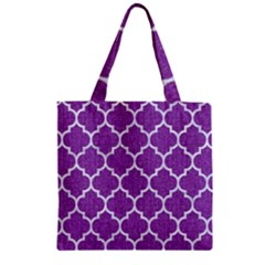 Tile1 White Marble & Purple Denim Zipper Grocery Tote Bag