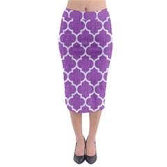 Tile1 White Marble & Purple Denim Midi Pencil Skirt