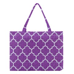 Tile1 White Marble & Purple Denim Medium Tote Bag