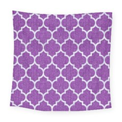 Tile1 White Marble & Purple Denim Square Tapestry (large)