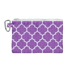Tile1 White Marble & Purple Denim Canvas Cosmetic Bag (medium)
