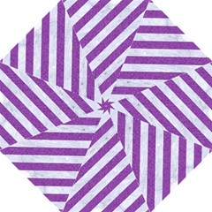 Stripes3 White Marble & Purple Denim (r) Straight Umbrellas