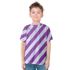 Stripes3 White Marble & Purple Denim (r) Kids  Cotton Tee