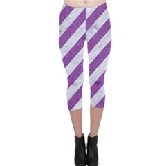 Stripes3 White Marble & Purple Denim (r) Capri Leggings  by trendistuff