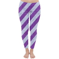 Stripes3 White Marble & Purple Denim (r) Classic Winter Leggings