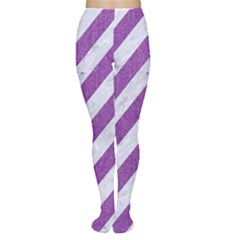 Stripes3 White Marble & Purple Denim (r) Women s Tights by trendistuff