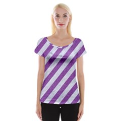 Stripes3 White Marble & Purple Denim (r) Cap Sleeve Tops