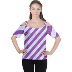 Stripes3 White Marble & Purple Denim (r) Cutout Shoulder Tee