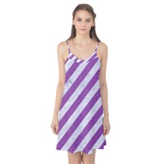 Stripes3 White Marble & Purple Denim (r) Camis Nightgown