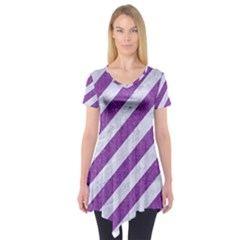 Stripes3 White Marble & Purple Denim (r) Short Sleeve Tunic