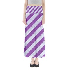 Stripes3 White Marble & Purple Denim (r) Full Length Maxi Skirt