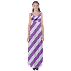 Stripes3 White Marble & Purple Denim (r) Empire Waist Maxi Dress
