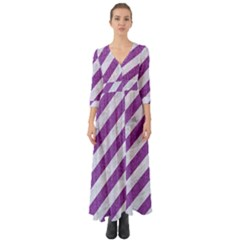 Stripes3 White Marble & Purple Denim (r) Button Up Boho Maxi Dress