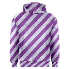 Stripes3 White Marble & Purple Denim (r) Men s Overhead Hoodie