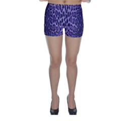 Purple Leopard Print  Skinny Shorts by CasaDiModa