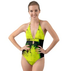 Colors And Fabrics 23 Halter Cut Out One Piece Swimsuit