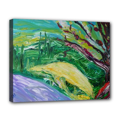 Yellow Boat And Coral Tree Canvas 14  X 11