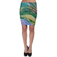 Yellow Boat And Coral Tree Bodycon Skirt