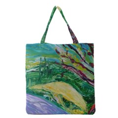 Yellow Boat And Coral Tree Grocery Tote Bag by bestdesignintheworld