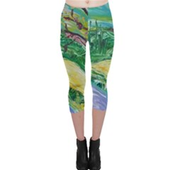 Yellow Boat And Coral Tree Capri Leggings