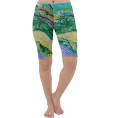 Yellow Boat And Coral Tree Cropped Leggings