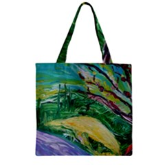 Yellow Boat And Coral Tree Zipper Grocery Tote Bag