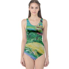 Yellow Boat And Coral Tree One Piece Swimsuit