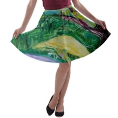 Yellow Boat And Coral Tree A Line Skater Skirt