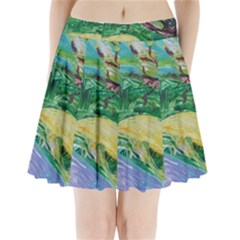 Yellow Boat And Coral Tree Pleated Mini Skirt