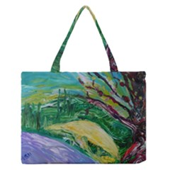 Yellow Boat And Coral Tree Zipper Medium Tote Bag