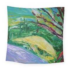 Yellow Boat And Coral Tree Square Tapestry (large)