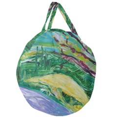 Yellow Boat And Coral Tree Giant Round Zipper Tote