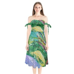 Yellow Boat And Coral Tree Shoulder Tie Bardot Midi Dress