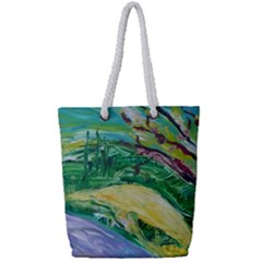 Yellow Boat And Coral Tree Full Print Rope Handle Tote (small)