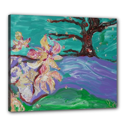 Magnolia By The River Bank Canvas 24  X 20