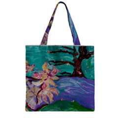 Magnolia By The River Bank Zipper Grocery Tote Bag