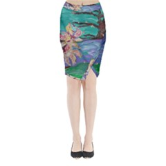 Magnolia By The River Bank Midi Wrap Pencil Skirt
