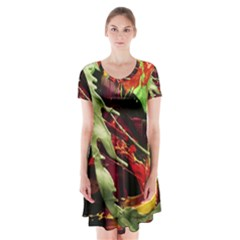 Enigma 1 Short Sleeve V Neck Flare Dress