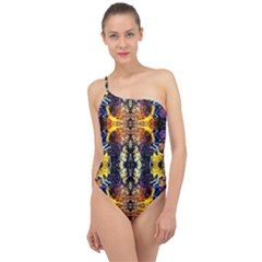 Mystic Yellow Blue Ornament Pattern Classic One Shoulder Swimsuit