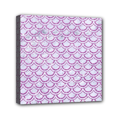 Scales2 White Marble & Purple Glitter (r) Canvas Travel Bag
